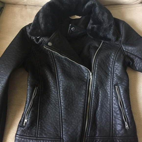 Hollister Black Faux Fur Faux Leather Jacket XS